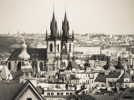 tynsky church: Prague Old Town with Church of Our Lady before Tyn. Aerial view from Letna Park, Czech Republic. Creamtone image. Stock Photo