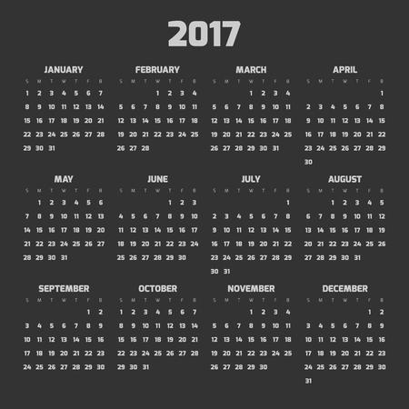 weeks: Calendar for year 2017. Four months in three rows. Weeks start on monday. Dark theme. Illustration