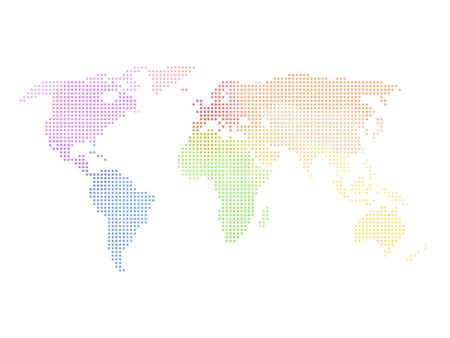 Dotted world map. Multicolored map on white background. Vector illustration made of small circles. Illustration