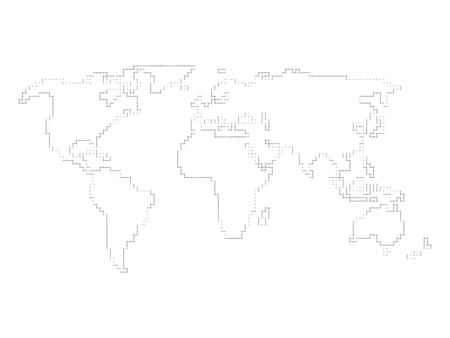 vector world map outline made of perpendicular lines with black