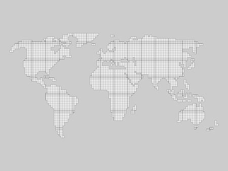 World Map Grid Tiled By Small Squares With Black Outline And White Fill On Grey