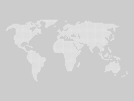 Mapa del mundo de azulejos por pequeños cuadrados en el esquema de color gris claro. Ilustración de vector