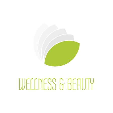 zen spa: Green leafs icon - wellness beauty and spa theme. Simple flat green illustration on white background.