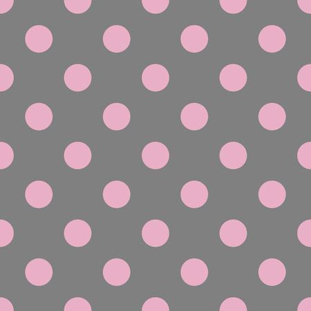 polka dot pattern: Seamless polka dot pattern. Pink dots on grey background. Vector illustration. Illustration