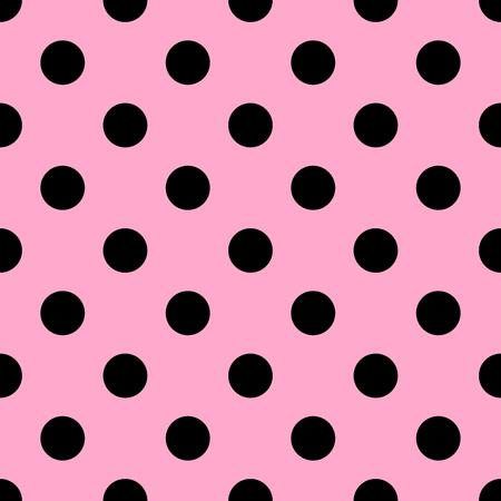 pink and black: Seamless polka dot pattern. Black dots on pink background. illustration.