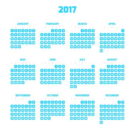 weeks: Calendar for year 2017. Four months in three rows. Weeks start on monday. White numbers in blue squares with rounded corners on white background.