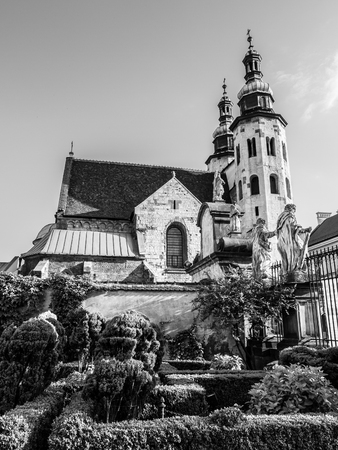 andrew: Romanesque church of St. Andrew in the Old Town district of Krakow, Poland. Black and white image. Stock Photo