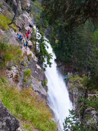 via: People climbing on a via ferrata near Stuibenfall, Austria