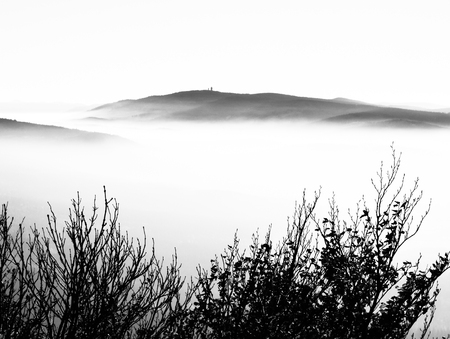 inversion: Cerchov Mountain above clouds in autumn inversion weather, Czech Republic. Black and white image.
