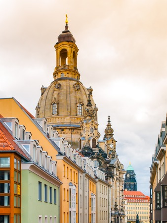 frauenkirche: Dome of Dresden Frauenkirche behind buildings of Old Town, Germany