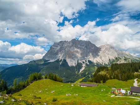 zugspitze mountain: Zugspitze, the highest mountain in Germany. View from Austria. Stock Photo