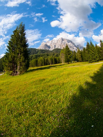 zugspitze mountain: Zugspitze, the highest mountain in Germany. View from Austria. Fisheye view. Stock Photo