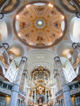 frauenkirche: DRESDEN, GERMANY - CIRCA MARCH 2013: beautiful ceiling of the Frauenkirche Cathedral circa in March 2013, Dresden, Germany. Editorial