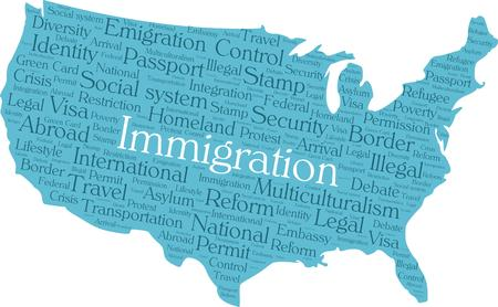 immigration: Immigration word cloud concept in a shape of United States silhouette. Dark blue text on grey map with higlighted immigration word