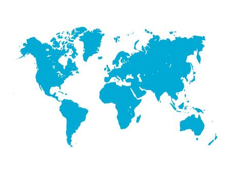 simplified: map of World. Blue silhouette on white background. Simplified World map