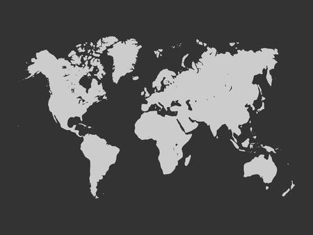 simplified: map of World. Light grey silhouette on dark grey background. Simplified World map