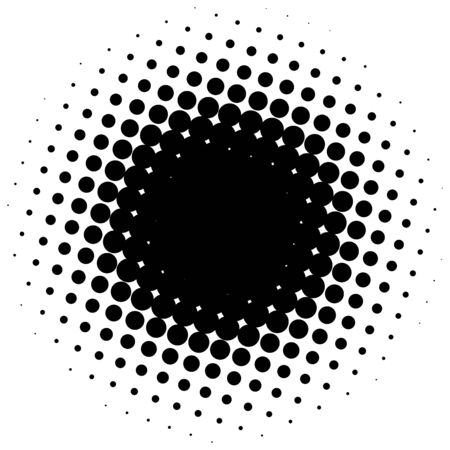 halftone: Black abstract halftone circle made of dots. illustration.