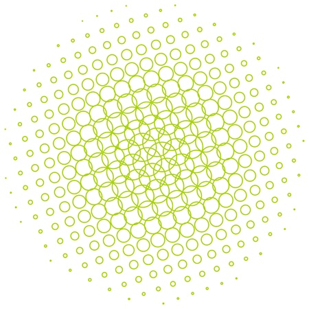 halftone: Abstract halftone circle made of small green outline of circles.  illustration.