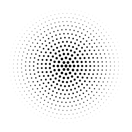Halftone circle made of hexagons. Black illustration on white background. Abstract background.