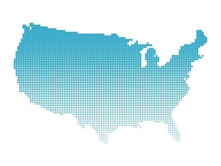 Mapa de medio tono de EE.UU.. Mapa de los Estados Unidos de América hizo de puntos. Ilustración azul sobre fondo blanco.