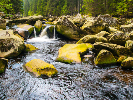 Mossy rocks in the wild stream of Vydra river, Sumava National Park, Bohemian Forest, Czech Republic Imagens - 57659214