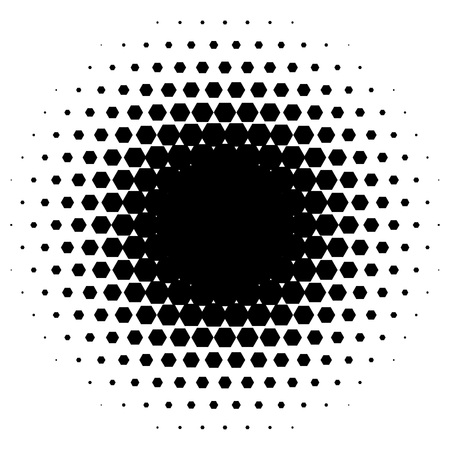 halftone: Halftone circle made of hexagons. Black illustration on white background. Abstract background.