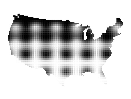 halftone: Halftone map of USA. Map of United States of America made of dots. Black illustration on white background. Illustration