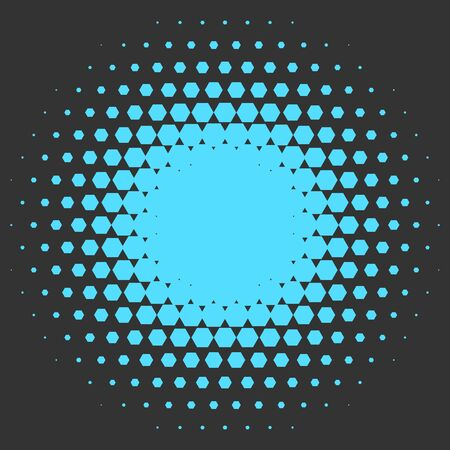 halftone: Halftone circle made of hexagons. Blue vector illustration on grey background. Abstract vector background.