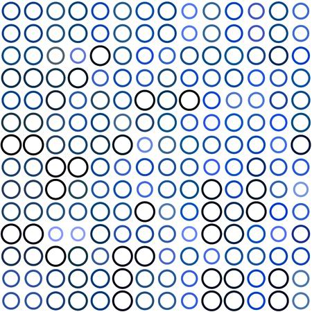 ordered: Seamless background made of rings in various sizes and colors ordered in rows. Vector illustration in shades of blue on white background.