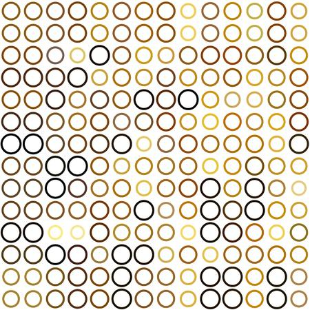 ordered: Seamless background made of rings in various sizes and colors ordered in rows. Vector illustration in shades of brown on white background.