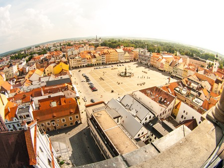 budweis: Main square in Ceske Budejovice, Czech Republic. Aerial view from lookout tower.