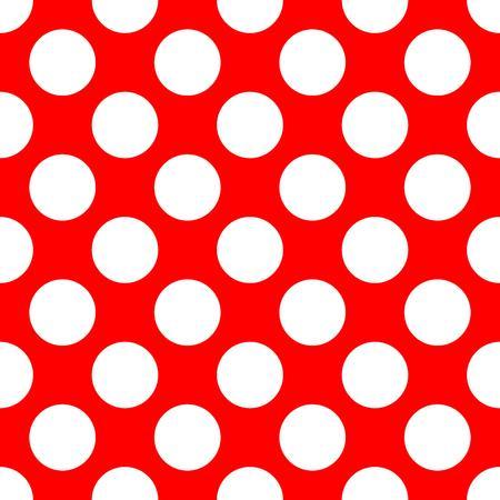 Modèle de polka sans couture. Points blancs sur fond rouge. Illustration vectorielle.