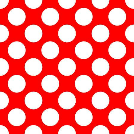 Seamless polka dot pattern. White dots on red background. Vector illustration.