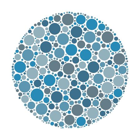 Circle made of dots in shades of blue. Abstract vector illustration inspired by medical Ishirara test for color-blindness.