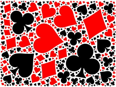 bridge illustration: Poker cards mosaic background of four red and black suits - hearts, diamonds, clubs, spades. Flat vector illustration on white background.