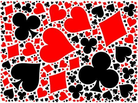 Tarjetas del póker del fondo del mosaico de cuatro palos rojos y negros - corazones, diamantes, tréboles, picas. ilustración vectorial plano sobre fondo blanco.