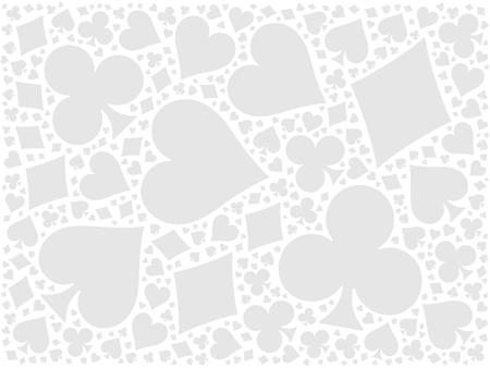 clubs diamonds: Poker cards mosaic background of four suits - hearts, diamonds, clubs, spades. Grey flat vector illustration on white background. Illustration