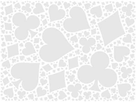 Poker-Karten Mosaik Hintergrund von vier Farben - Herz, Karo, Kreuz, Pik. Grau flache Vektor-Illustration auf weißem Hintergrund.