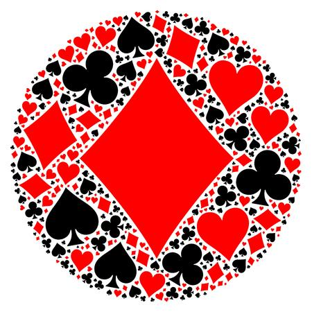red diamond: Mosaic circle of poker playing card suit with large red diamond suit in the middle. Flat vector illustration on white background Illustration