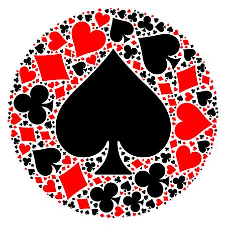 Mosaic circle of poker playing card suit with large black spade suit in the middle. Flat vector illustration on white background