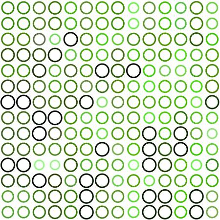 ordered: Seamless background made of rings in various sizes and colors ordered in rows. Vector illustration in shades of green on white background.