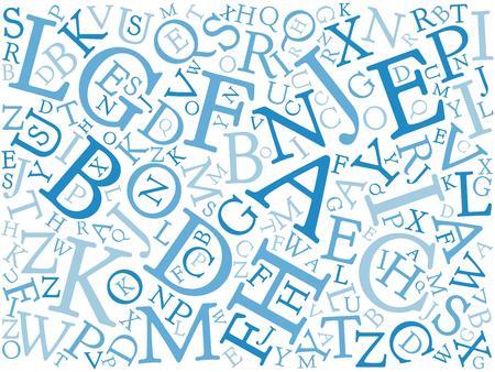 serif: Background mosaic of blue latin alphabet letters in various sizes. Serif font. Vector illustration background.
