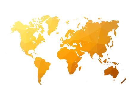 Low poly map of world. World map made of triangles. Orange polygonal shape vector illustration on white background.