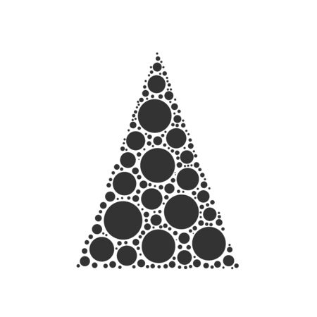 merry chrismas: Simple abstract chrismas tree of dots, or circles, in a triangle shape. Black illustration on white background.