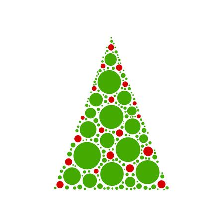 chrismas background: Simple abstract chrismas tree of red and green dots, or circles, in a triangle shape on white background. Illustration