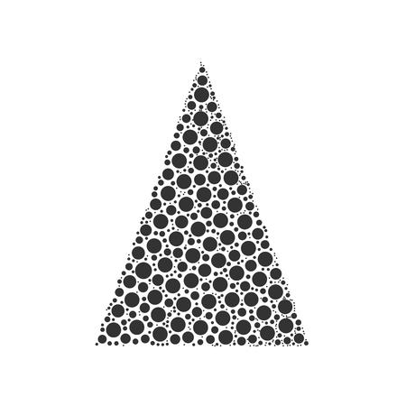 chrismas card: Simple abstract chrismas tree of dots, or circles, in a triangle shape. Black illustration on white background.