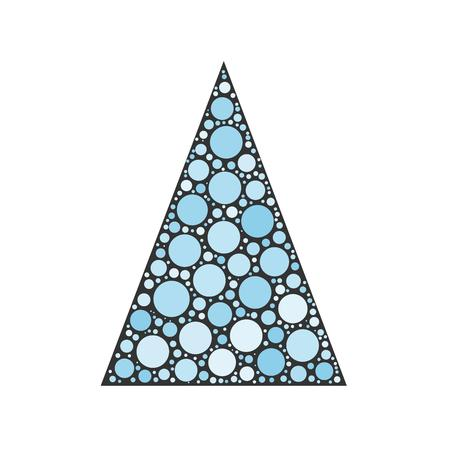 chrismas card: Simple abstract chrismas tree of blue dots, or circles, in a grey triangle shape.