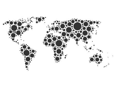pacific: World map mosaic of grey dots in various sizes on white background. Vector illustration. World map background theme. Illustration