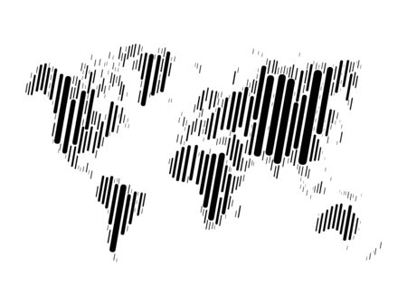 World map mosaic of black blocks with rounded corners on white background. Vector map of the World.