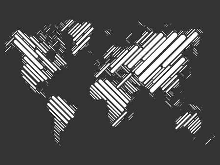 image size: World map mosaic of white blocks with sharp corners on black background. Vector map of the World.
